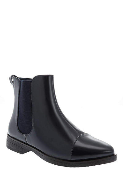 Patent Navy Flat Chelsea Boots-Single price