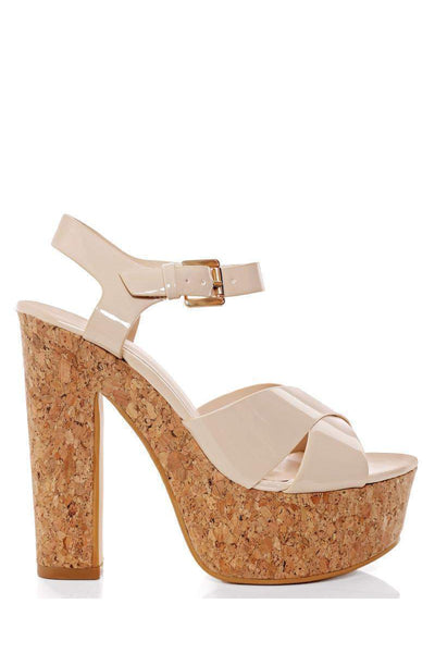 Patent PU Apricot Cork Platform Sandals-Single price