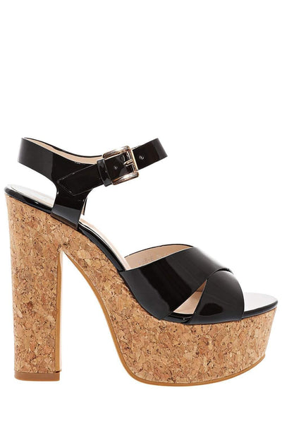 Patent PU Black Cork Platform Sandals-Single price