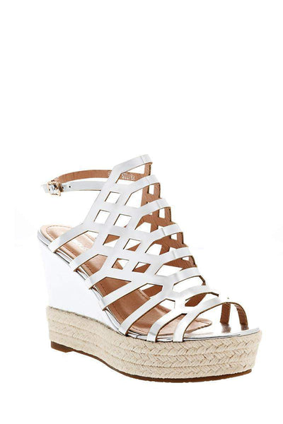 Patent PU Silver Cage Espadrille Wedges-Single price