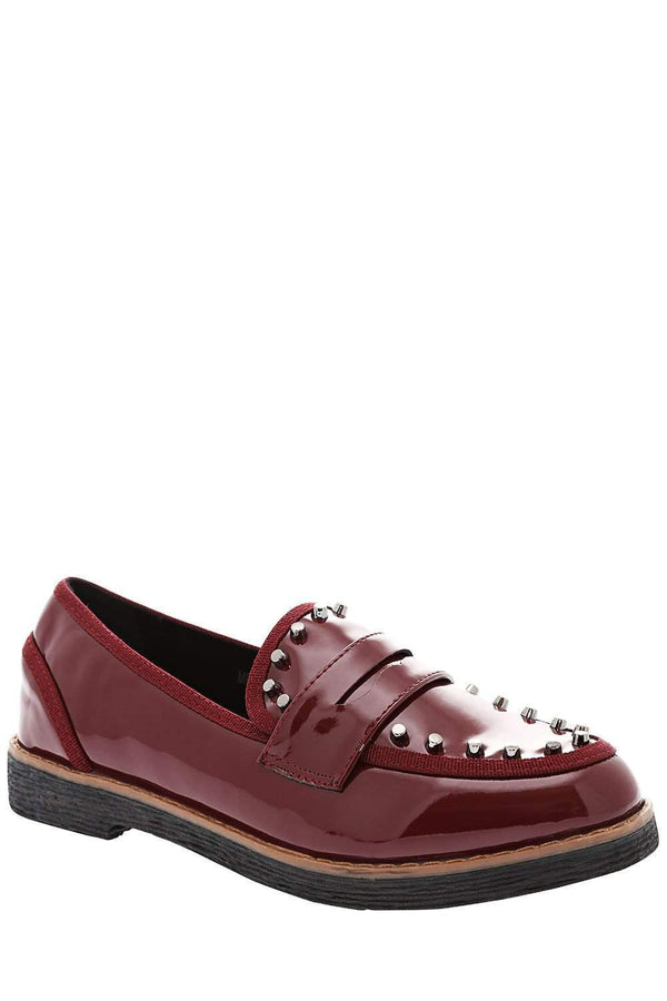 Patent Red Studded Penny Loafers-Single price