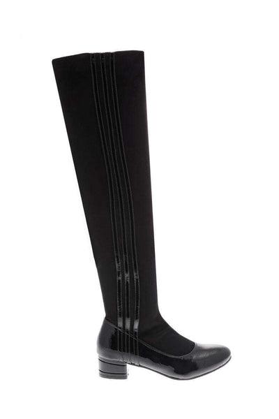 Patent Stripes Knee High Boots-Single price