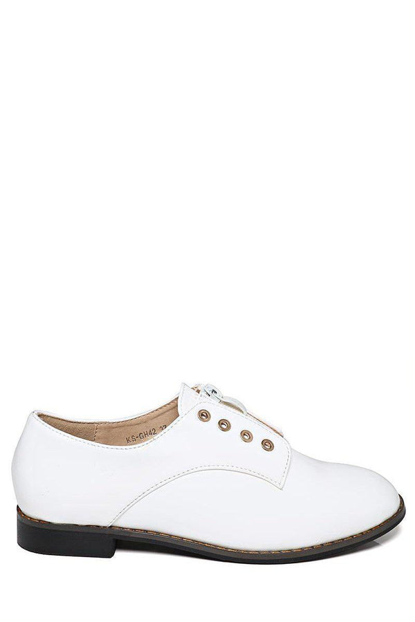 Patent White Loafer Shoes-SinglePrice