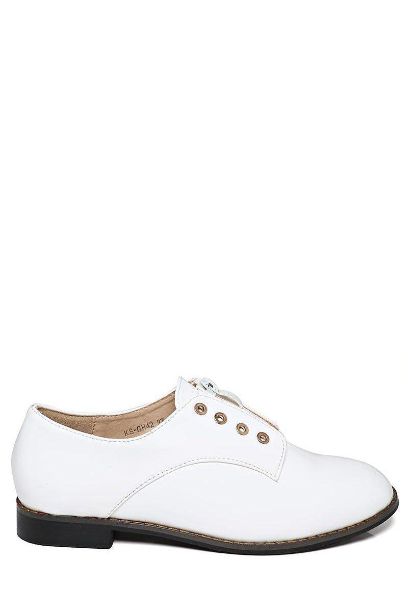 Patent White Loafer Shoes - SinglePrice