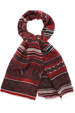 Pattern Stripes Dark Red Scarf - SinglePrice