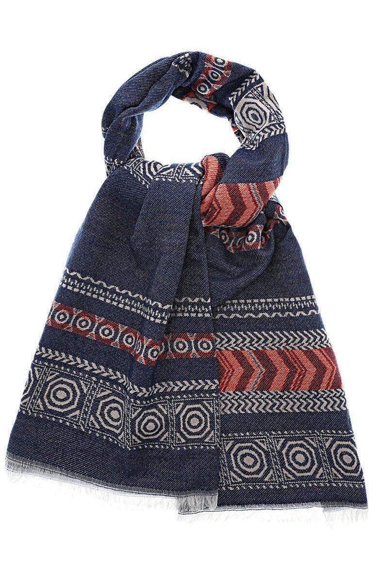 Pattern Stripes Navy Scarf - SinglePrice