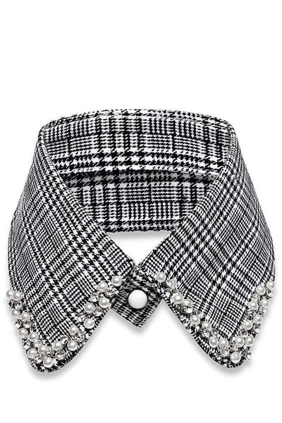 Pearl Button Embellished Dogtooth Collar-SinglePrice