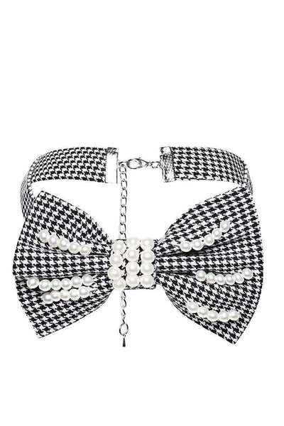 Pearl Embellished Dogtooth Choker-SinglePrice