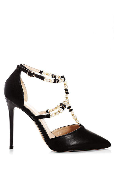 Pearl Straps Black Heels-Single price