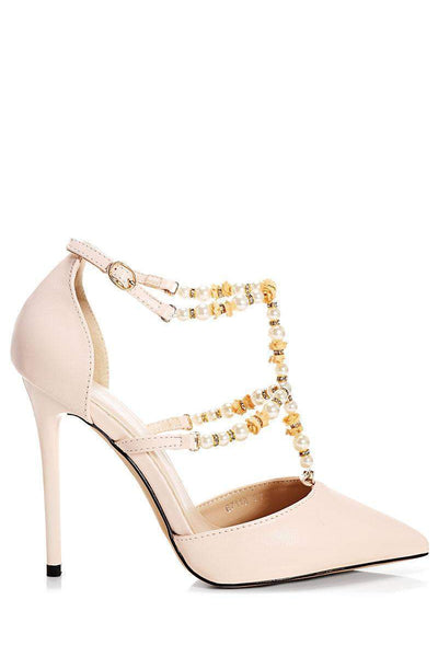 Pearl Straps Nude Heels-Single price