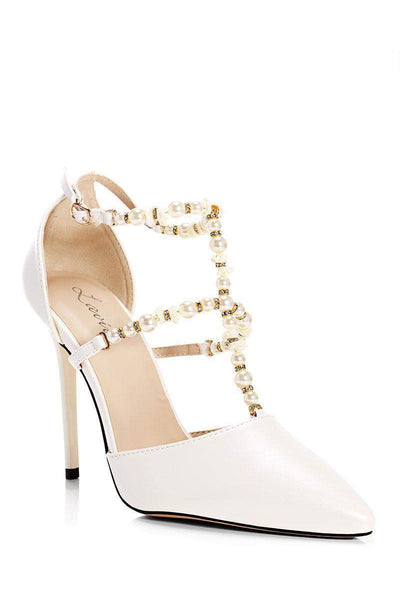 Pearl Straps White Heels-Single price