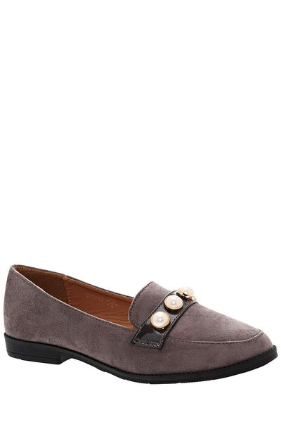 Pearl Studs Grey Loafer Flats-Single price