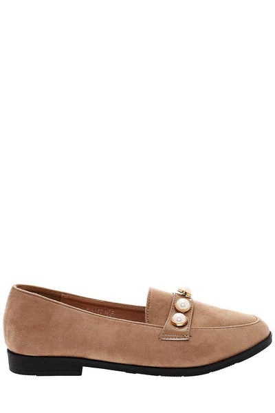 Pearl Studs Khaki Loafer Flats-Single price
