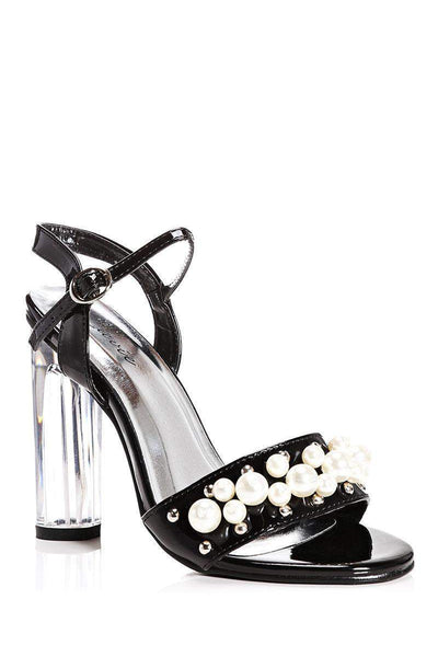 Pearls Embellished Black Perspex Heels-Single price