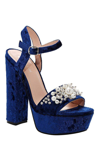 Pearls Embellished Blue Velvet Platform Heels-Single price