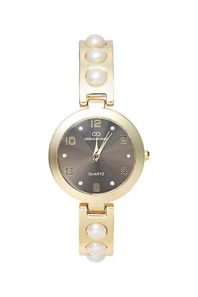 Pearls Embellished Gold Band Black Dial Watch-SinglePrice