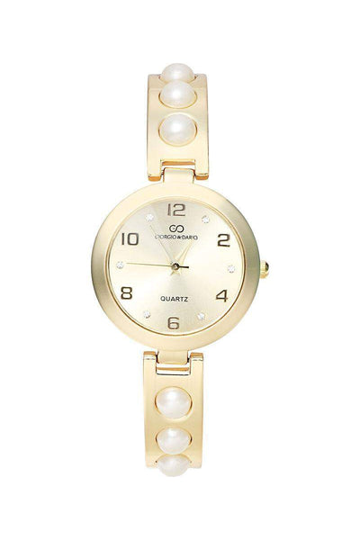 Pearls Embellished Gold Band Gold Dial Watch-SinglePrice