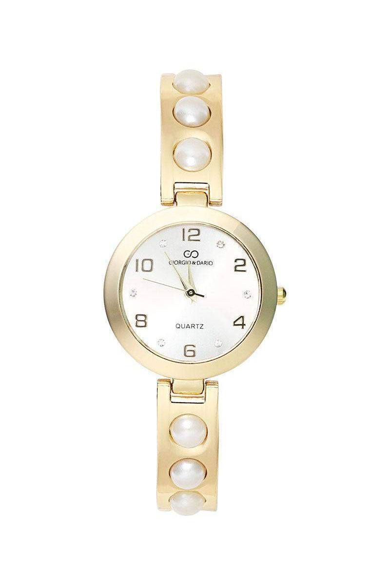 Pearls Embellished Gold Band Silver Dial Watch-SinglePrice
