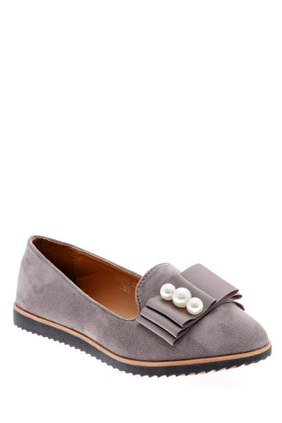 Pearls Embellished Grey Loafer Flats-Single price