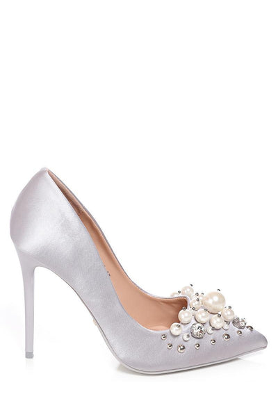 Pearls Embellished Grey Satin Stiletto Heels-SinglePrice