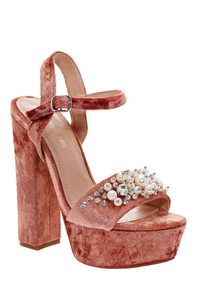 Pearls Embellished Nude Velvet Platform Heels-Single price