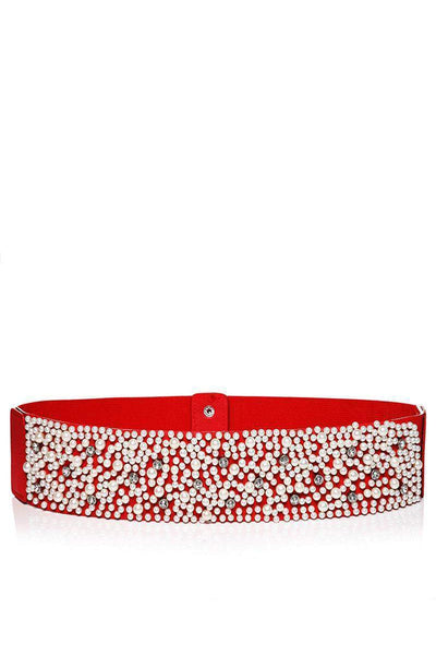 Pearls Embellished Red Elastic Belt-SinglePrice