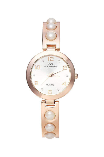 Pearls Embellished Rose Gold Band White Dial Watch-SinglePrice