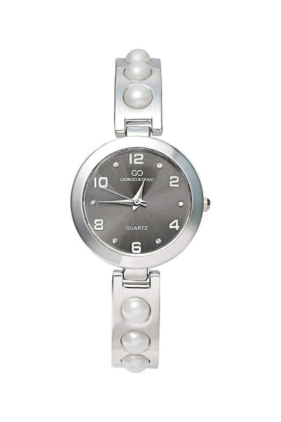 Pearls Embellished Silver Band Black Dial Watch-SinglePrice