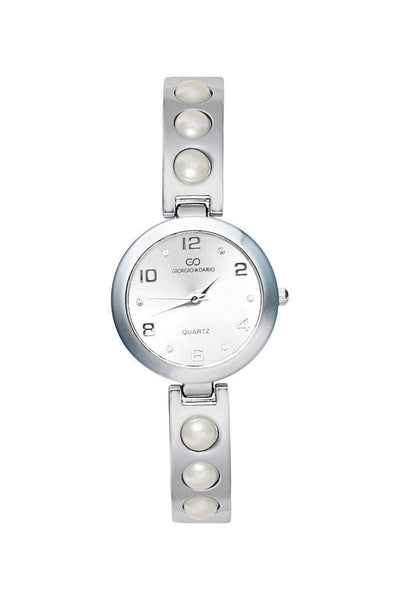 Pearls Embellished Silver Band White Dial Watch-SinglePrice
