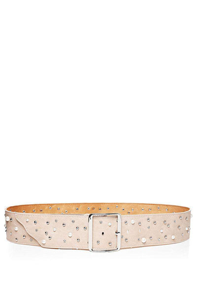 Pearls & Studs Embellished Beige Faux Leather Belt-SinglePrice