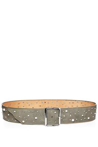Pearls & Studs Embellished Khaki Faux Leather Belt-SinglePrice