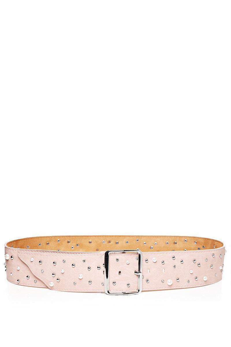Pearls & Studs Embellished Pink Faux Leather Belt-SinglePrice