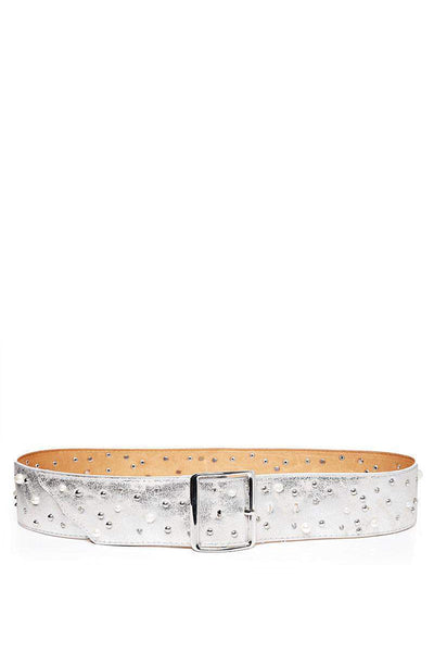 Pearls & Studs Embellished Silver Faux Leather Belt-SinglePrice