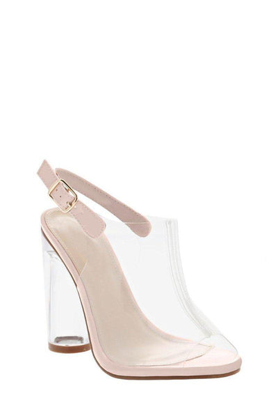 Peep Toe Perspex Pink High Heels-Single price