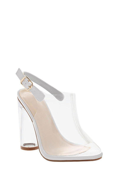 Peep Toe Perspex White High Heels-Single price
