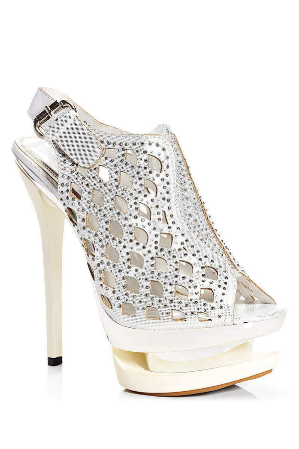 Peep-Toe Silver Platform Heels-Single price