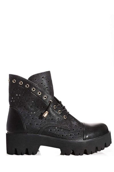 Perforated Black Boots-Single price