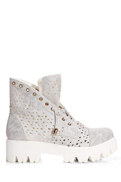 Perforated Silver Boots-Single price