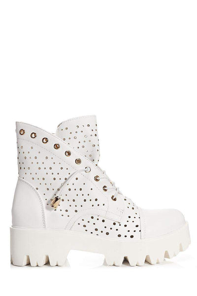 Perforated White Boots-Single price