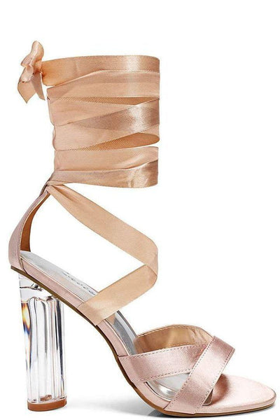 Perspex Heel Satin Wrap Beige Sandals-Single price