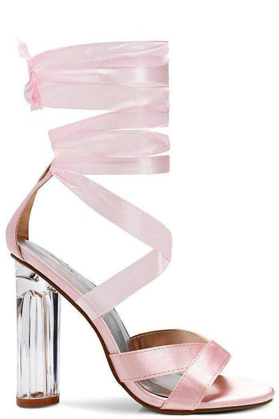 Perspex Heel Satin Wrap Pink Sandals-Single price