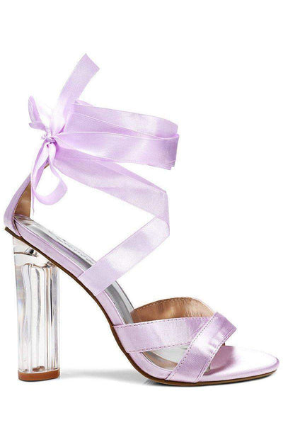 Perspex Heel Satin Wrap Purple Sandals-Single price