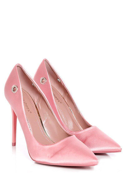 Pink Lace Up Satin Heels-SinglePrice