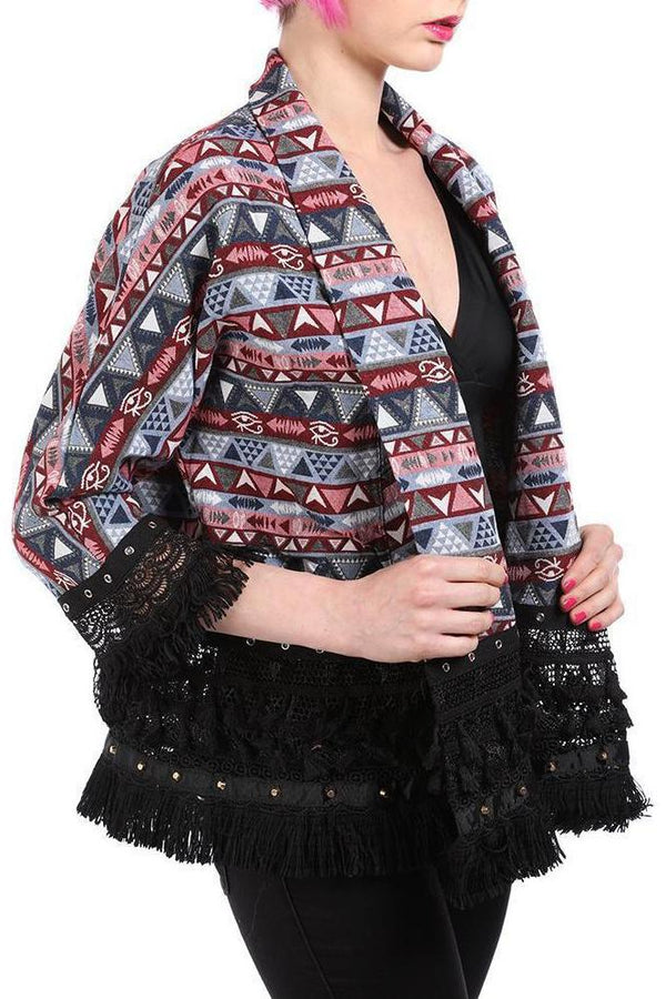 Pink Open Front Embroidered Jacket-SinglePrice