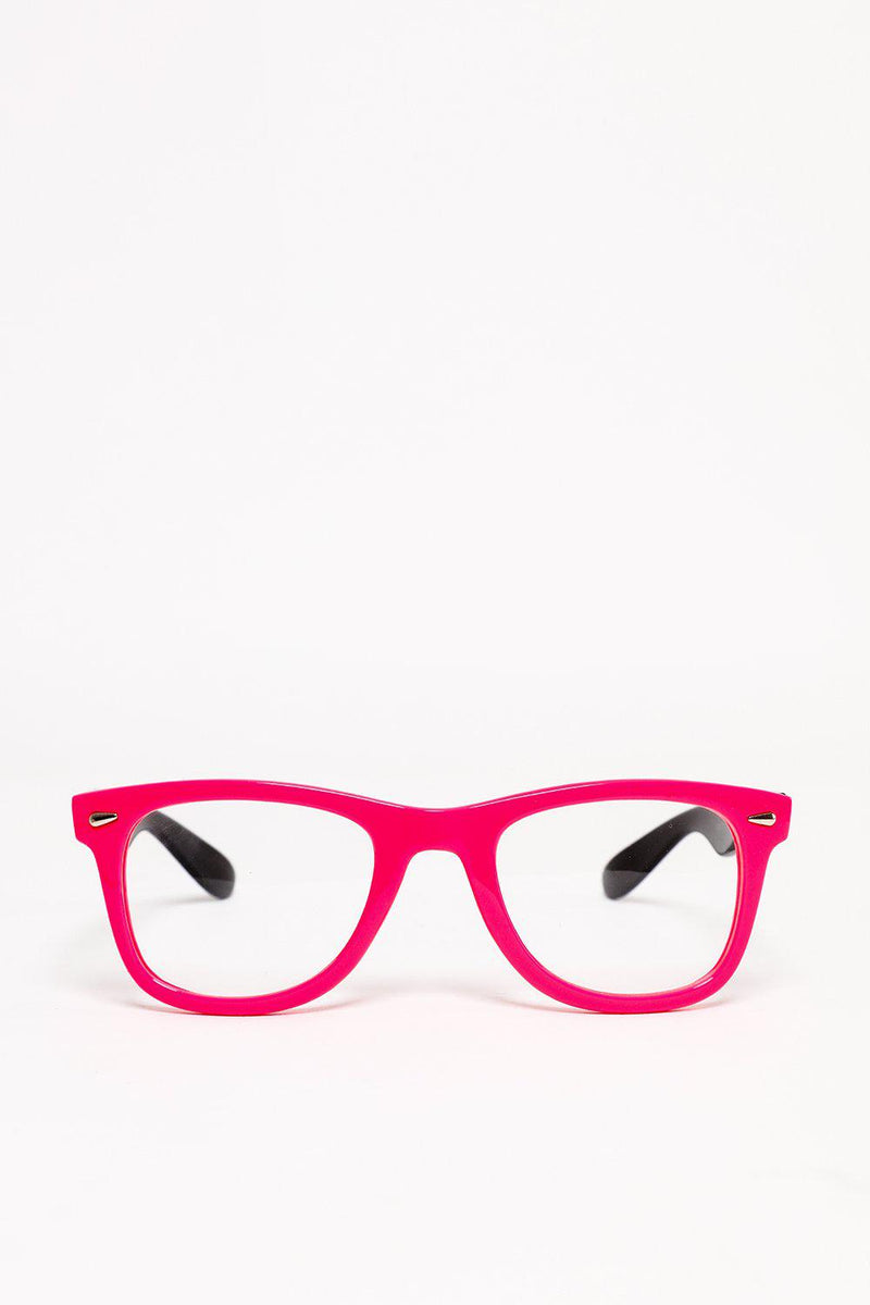 Pink And Black Frame Clear Lens Glasses - SinglePrice