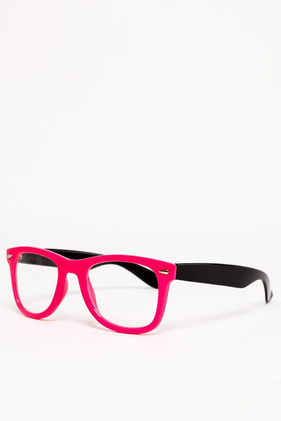 Pink And Black Frame Clear Lens Glasses