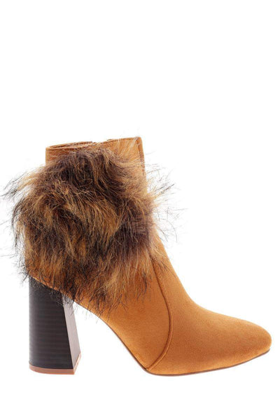Pom Pom Camel Flared Heel Boots-Single price