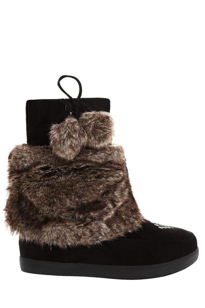 Pom Pom Fur Cuff Black Snow Boots-Single price