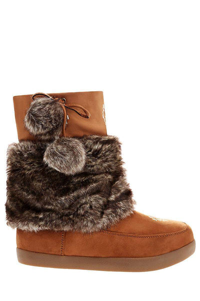 Pom Pom Fur Cuff Camel Snow Boots-Single price