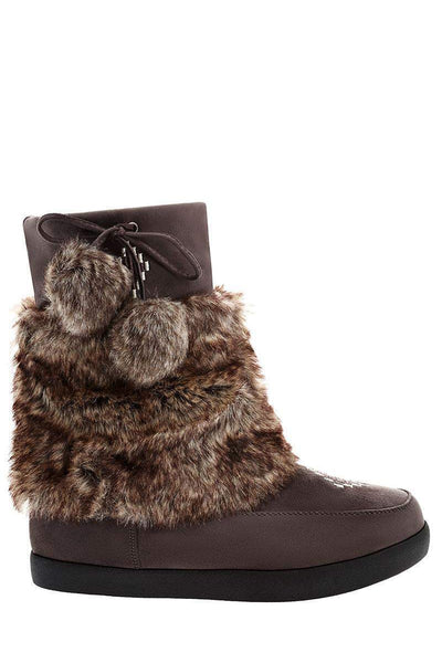 Pom Pom Fur Cuff Grey Snow Boots-Single price